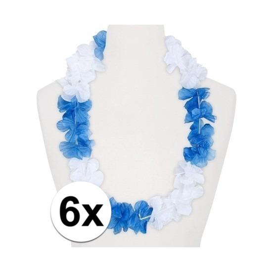 6x Hawaii kransen wit/blauw