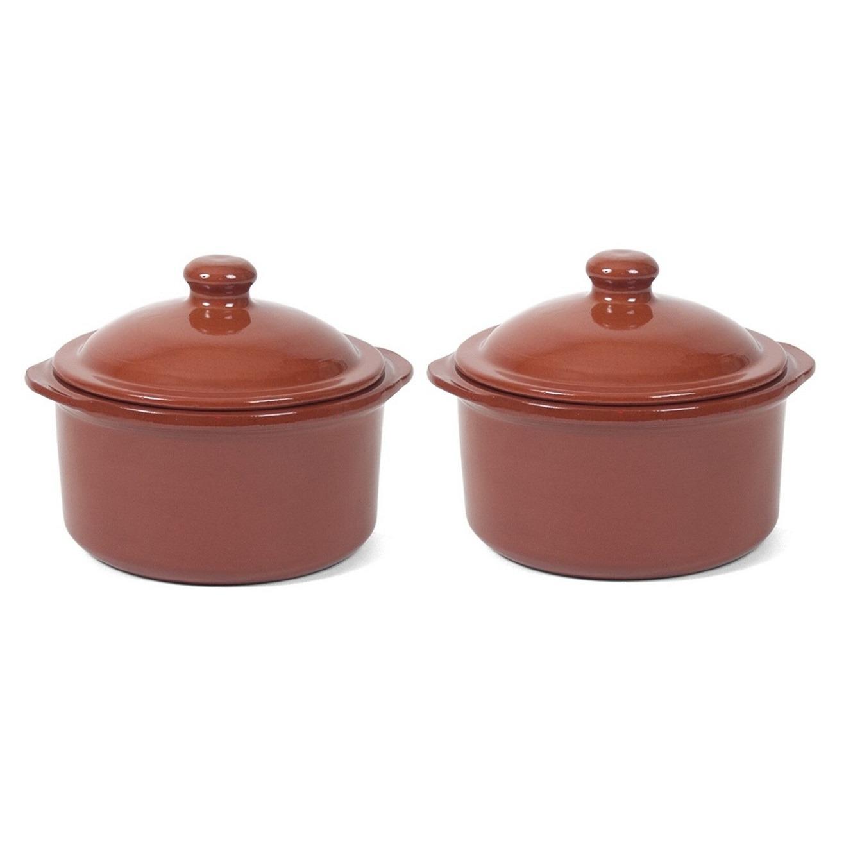 6x Mini stenen ovenschalen/stoofpotten met deksel Oviedo 18 cm