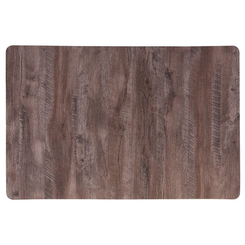 6x Placemat bruin hout print 44 cm