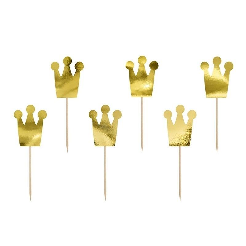 6x Prinsessen thema feest prikkers kroon 12 cm