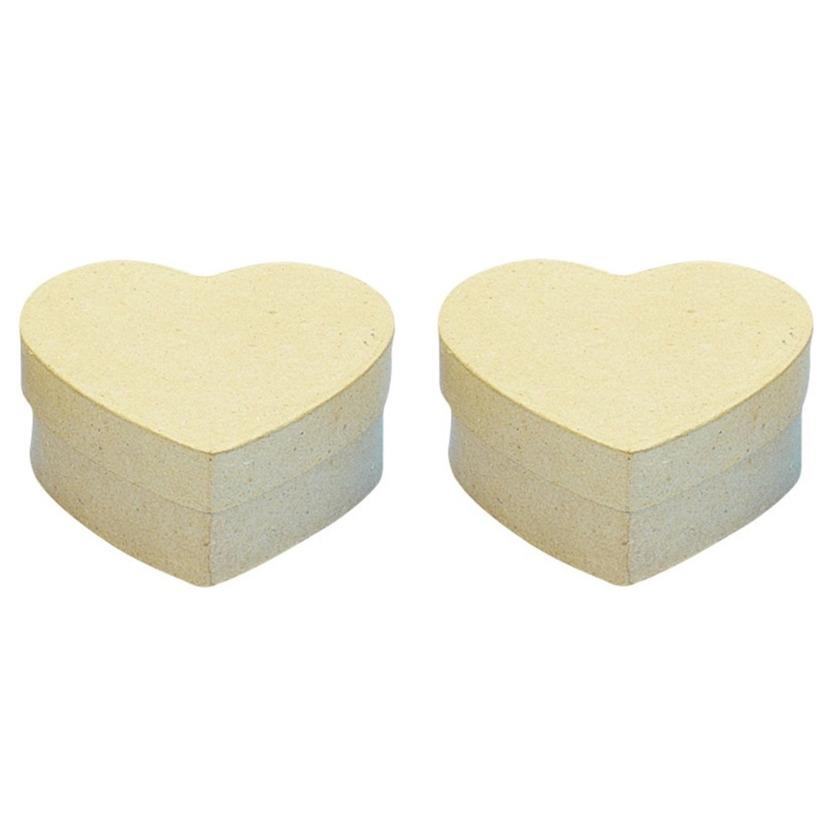 6x stuks papier mache doosjes in hartvorm 10 x 10 cm
