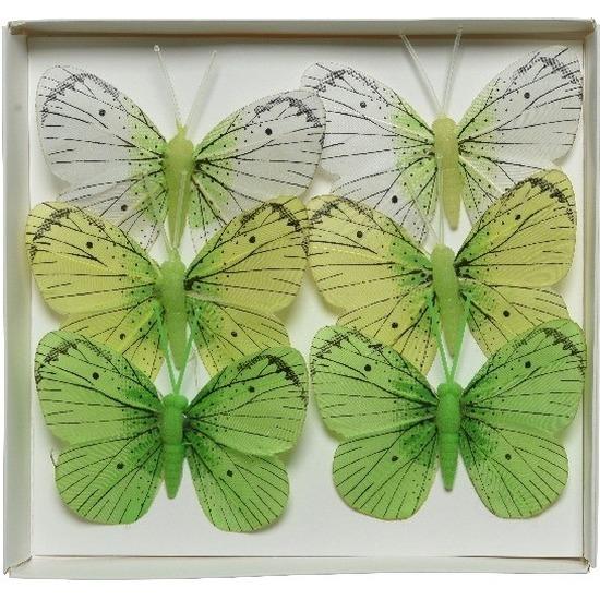 6x Witte/groene vlinders decoraties 6 x 8 cm op draad
