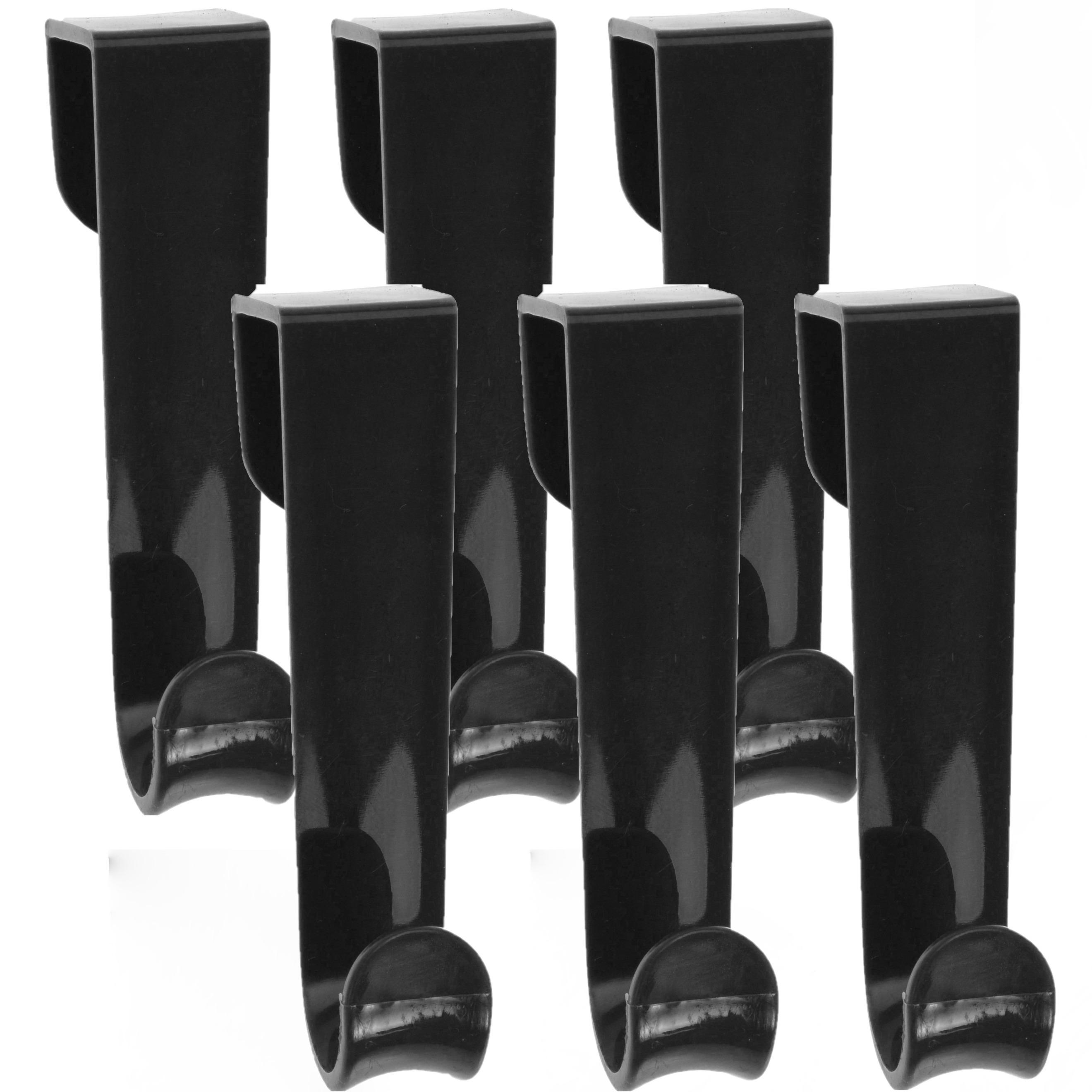 6x Zwarte deur kapstokhaken met enkele haak 12 cm