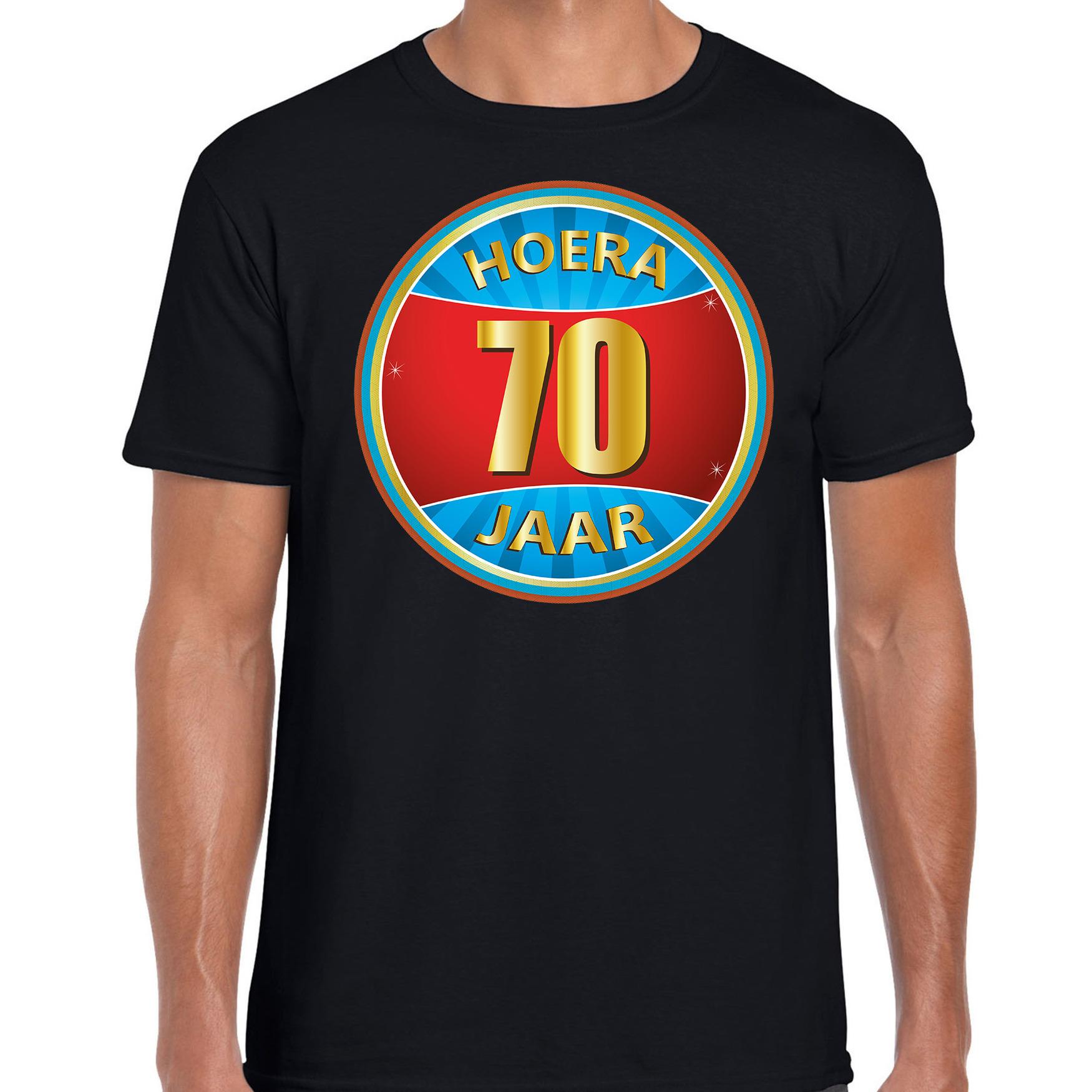 70e verjaardag cadeau t shirt hoera 70 jaar zwart voor heren