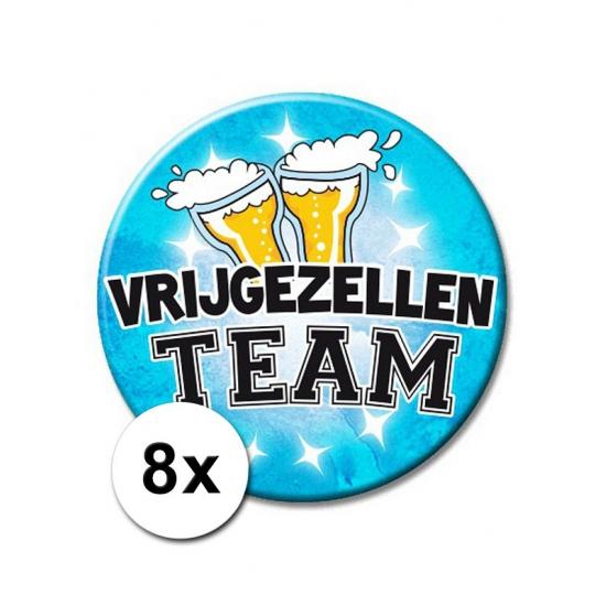 8 blauwe vrijgezellen XXL buttons