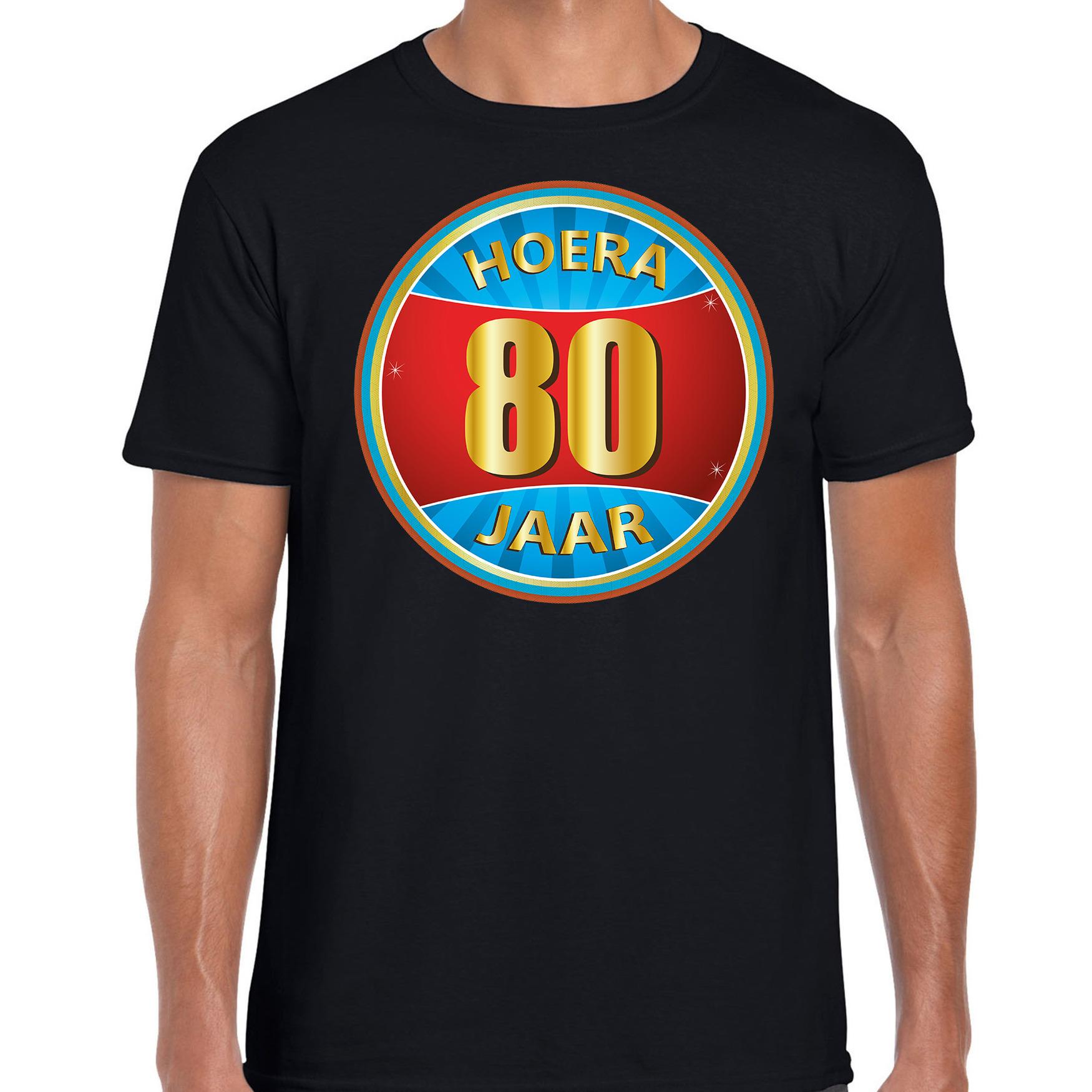 80e verjaardag cadeau t shirt hoera 80 jaar zwart voor heren