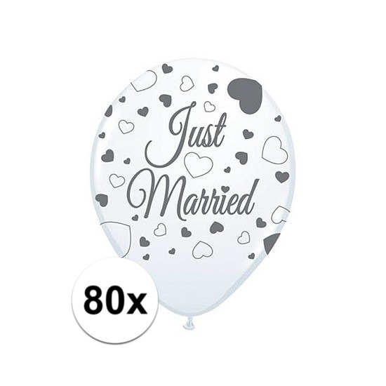 80x Just Married ballonnen 30 cm bruiloft versiering