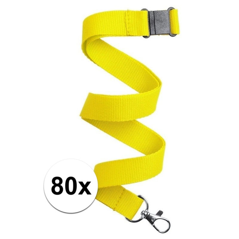 80x Keycord/lanyard geel met sleutelhanger 50 cm