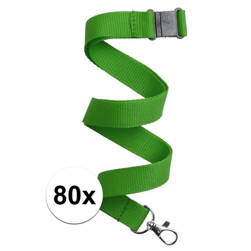 80x Keycord/lanyard groen met sleutelhanger 50 cm