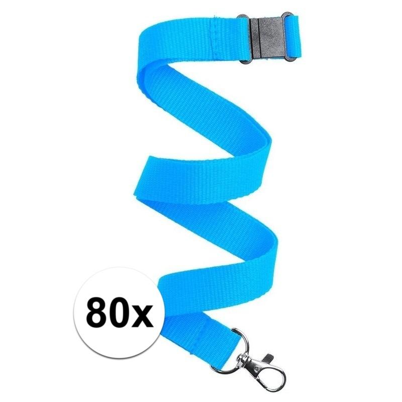 80x Keycord/lanyard licht blauw met sleutelhanger 50 cm