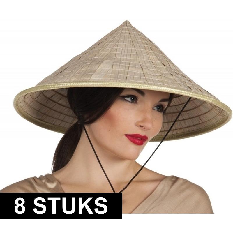 8x Aziatische hoeden verkleed accessoire Beige