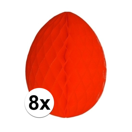 8x Decoratie paasei rood 20 cm