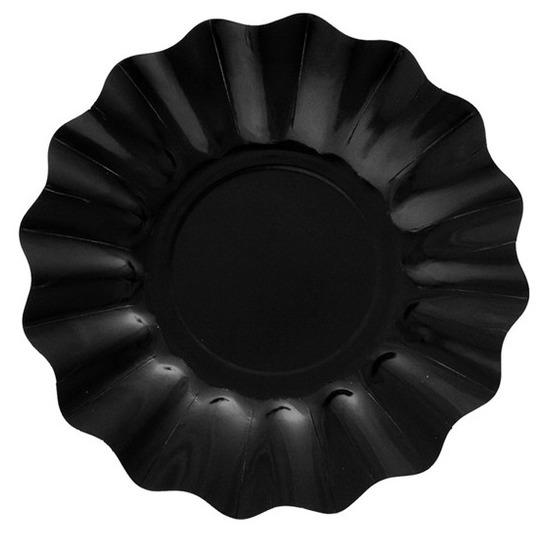 8x Diepe bordjes zwart 21 cm