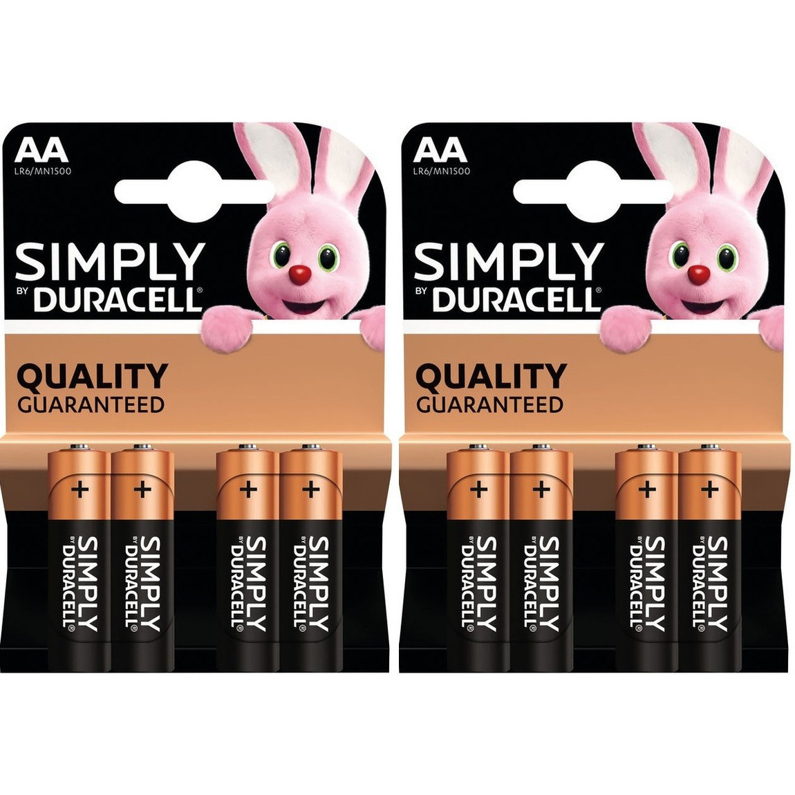 8x Duracell AA Simply batterijen alkaline LR6 MN1500 1.5 V