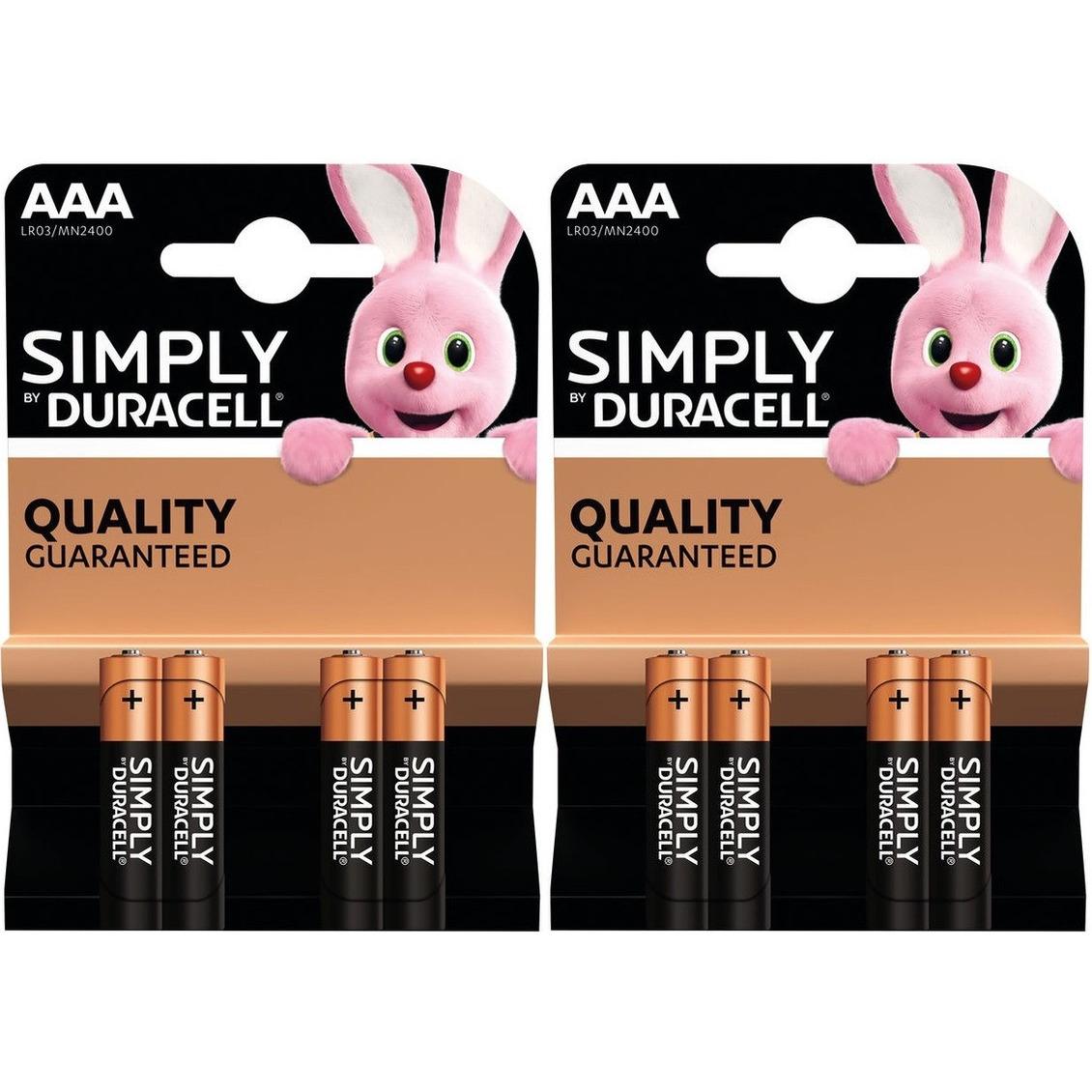 8x Duracell AAA Simply batterijen alkaline LR03 MN2400 1.5 V