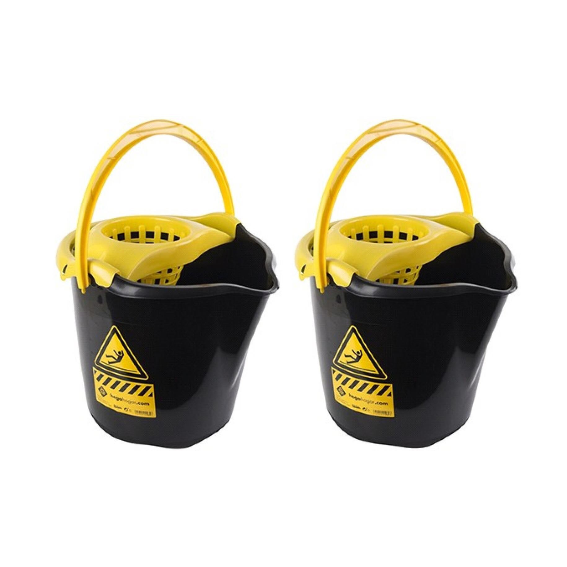 8x Dweilemmers/mopemmers 13,5 liter zwart/geel caution 32 x 30 cm