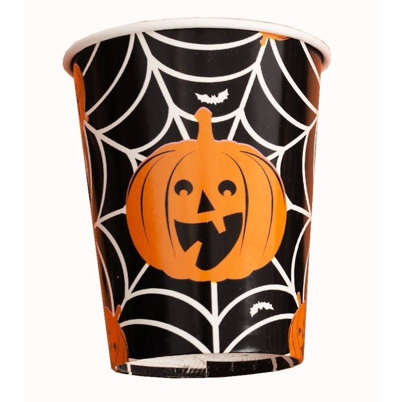 8x Halloween pompoen bekers