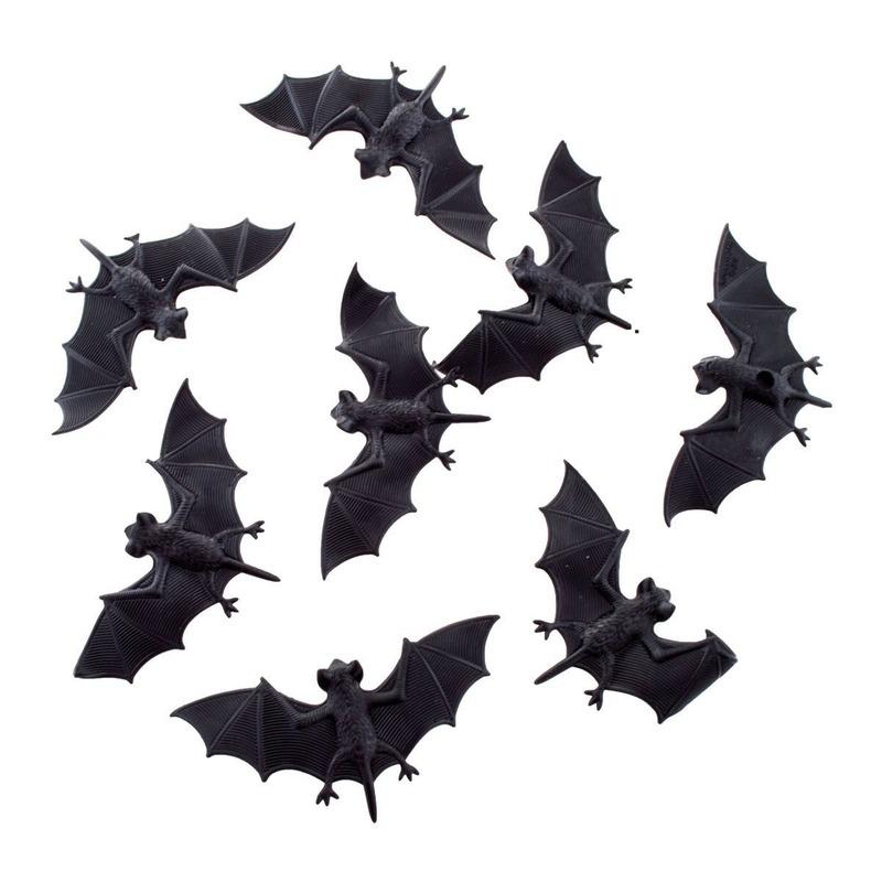 8x Plastic vleermuizen 10 cm halloween dieren