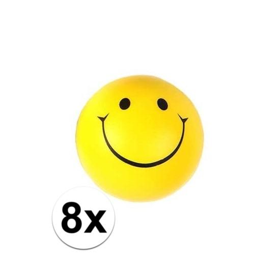 8x Smiley stressbal 6 cm