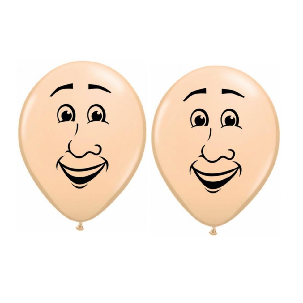 8x stuks ballon mannen gezichtje van 40 cm
