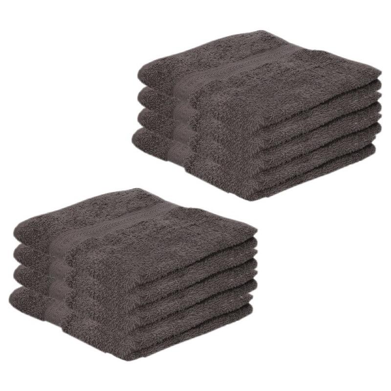 8x Voordelige handdoeken grijs 50 x 100 cm 420 grams