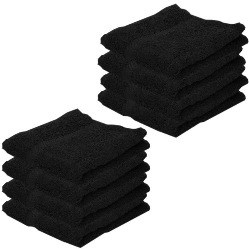 8x Voordelige handdoeken zwart 50 x 100 cm 420 grams