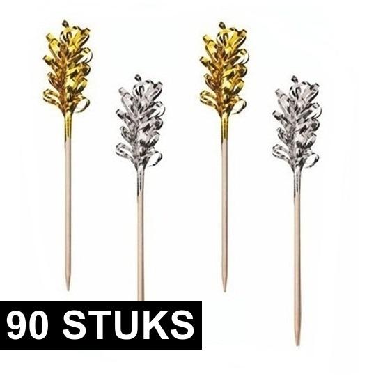 90x decoratieprikkers goud/zilver
