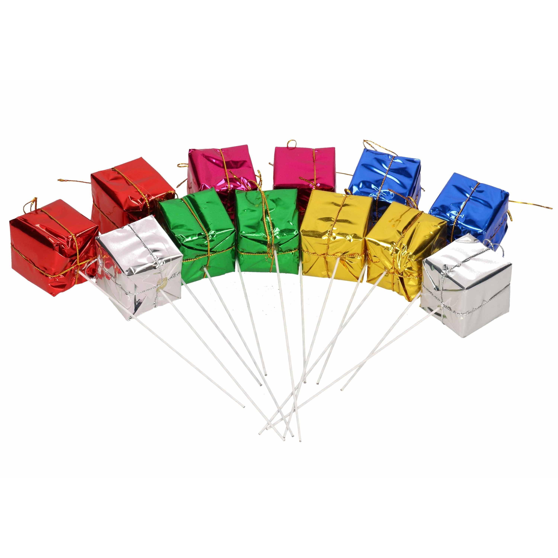 96x Stekers/prikkers met gekleurde cadeautjes 3,5 cm