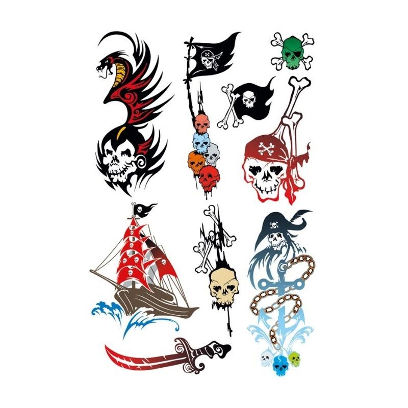 9x Piraten thema plak tattoo stickers