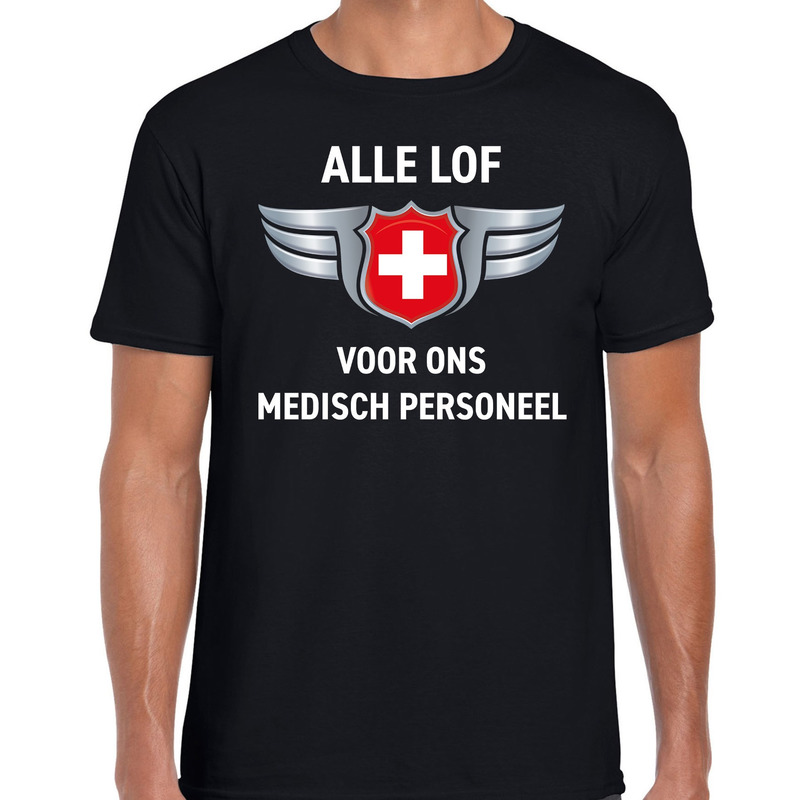 Alle lof voor ons medisch personeel t-shirt zwart voor heren