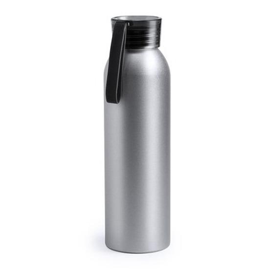 Aluminium drinkfles/waterfles met zwarte dop 650 ml
