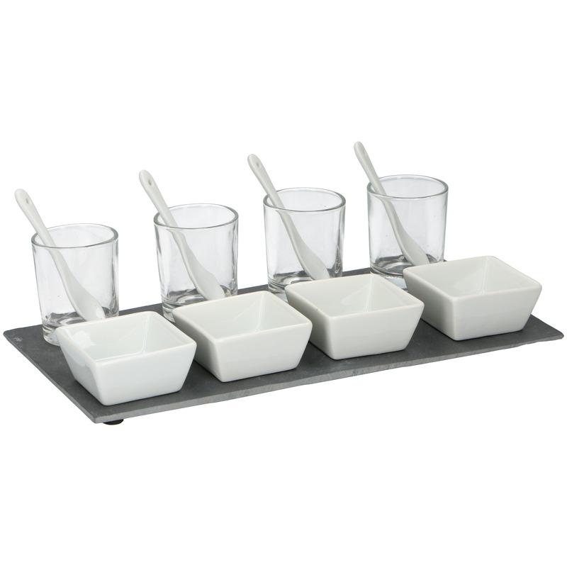 Amuse set 13-delig met serveerblad en vierkante schaaltjes