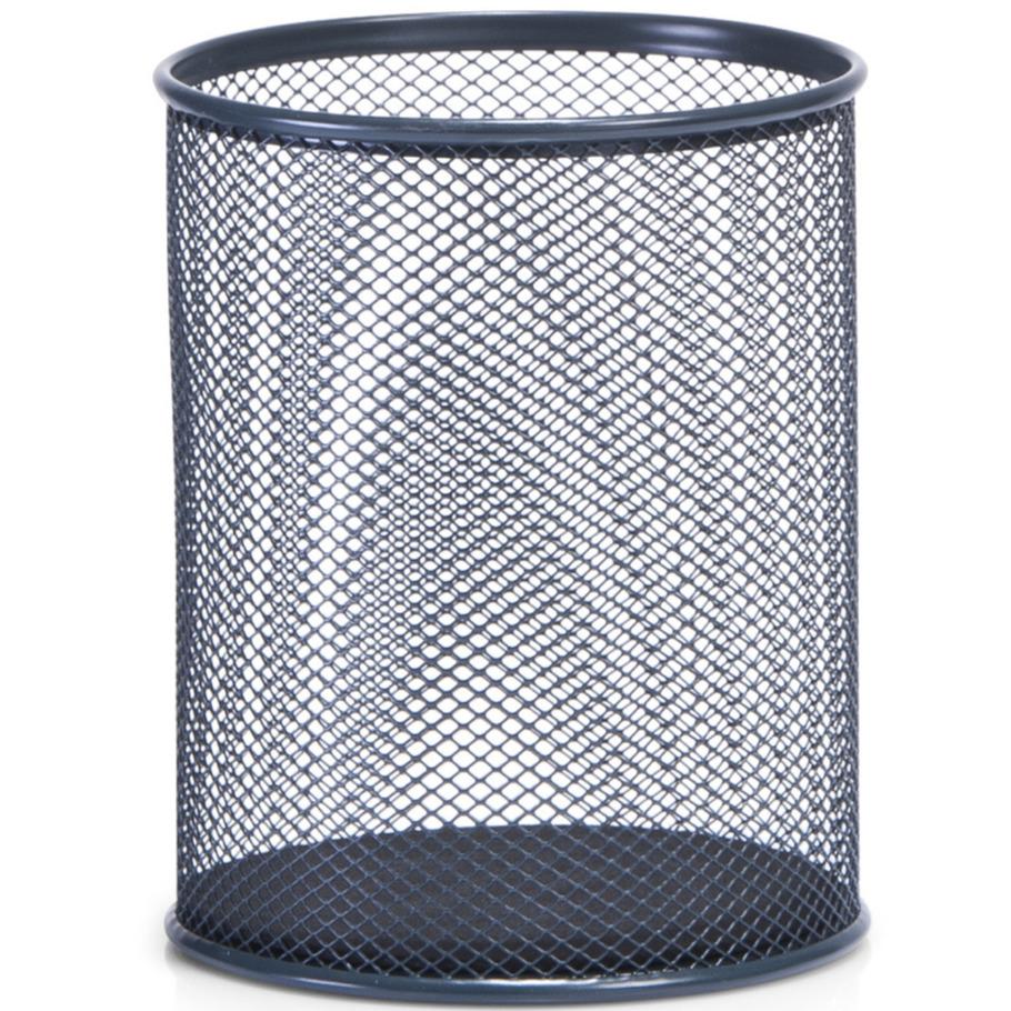 Antraciet grijze pennenbakjes rond van draadmetaal-mesh 11 x 13 cm