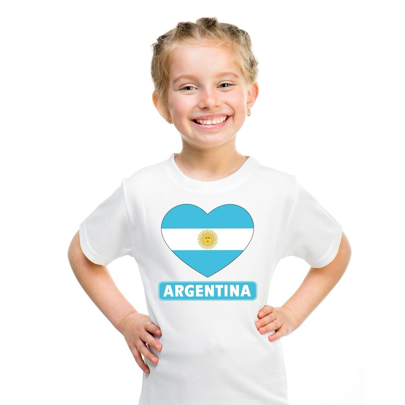 Argentinie hart vlag t-shirt wit jongens en meisjes