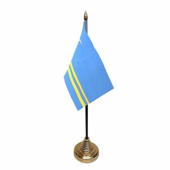 Aruba tafelvlaggetje 10 x 15 cm met standaard