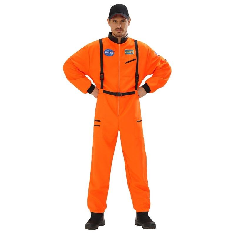 Astronauten kostuum oranje voor heren