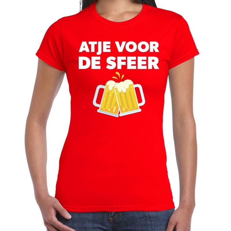 Atje voor de sfeer feest t-shirt rood voor dames