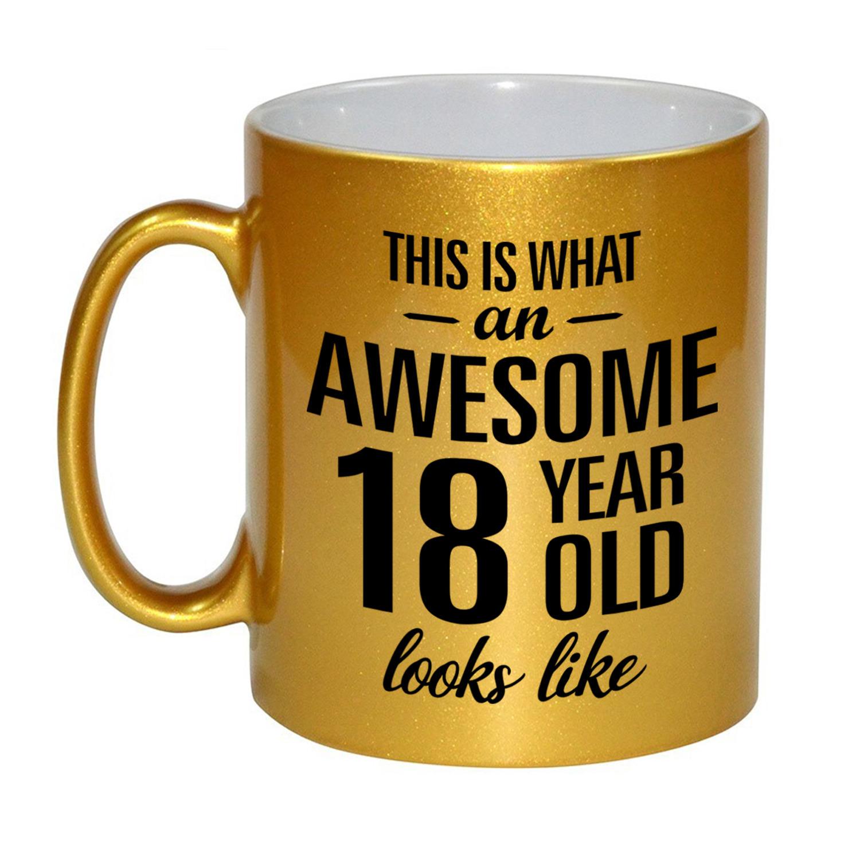 Awesome 18 year cadeau mok - beker goud 330 ml