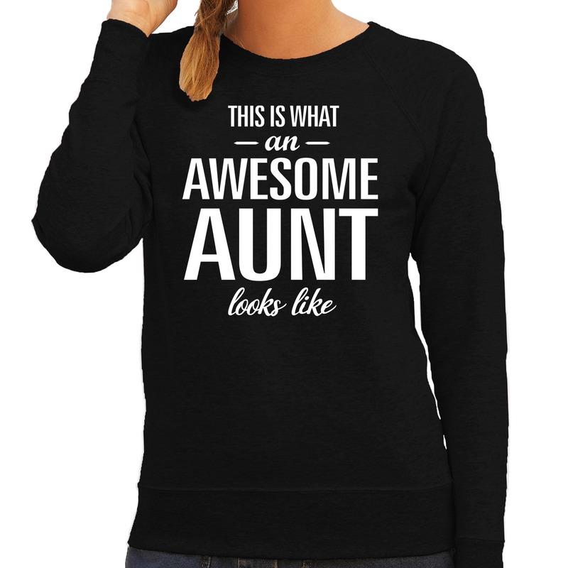 Awesome aunt - tante cadeau trui zwart dames