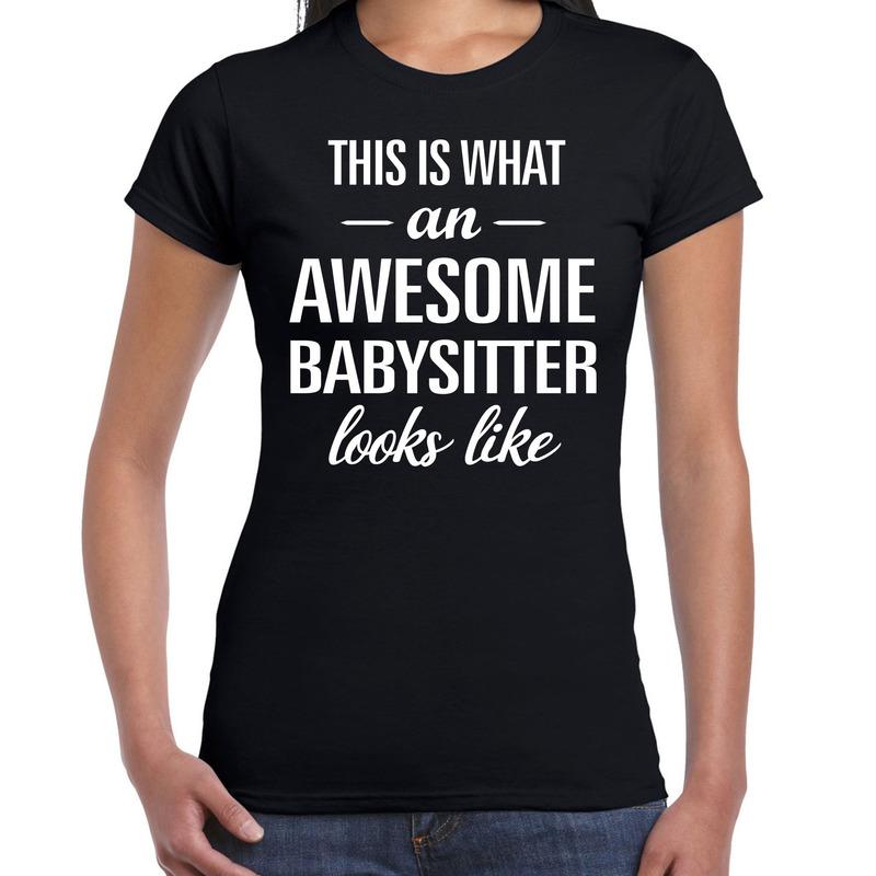 Awesome babysitter - oppas cadeau t-shirt zwart dames