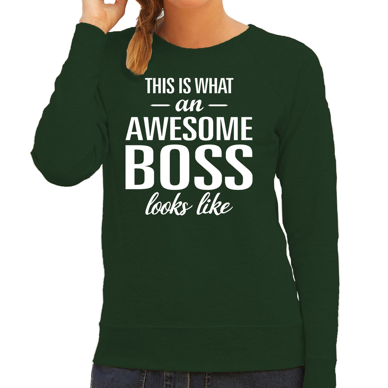 Awesome boss - baas cadeau sweater - trui groen dames