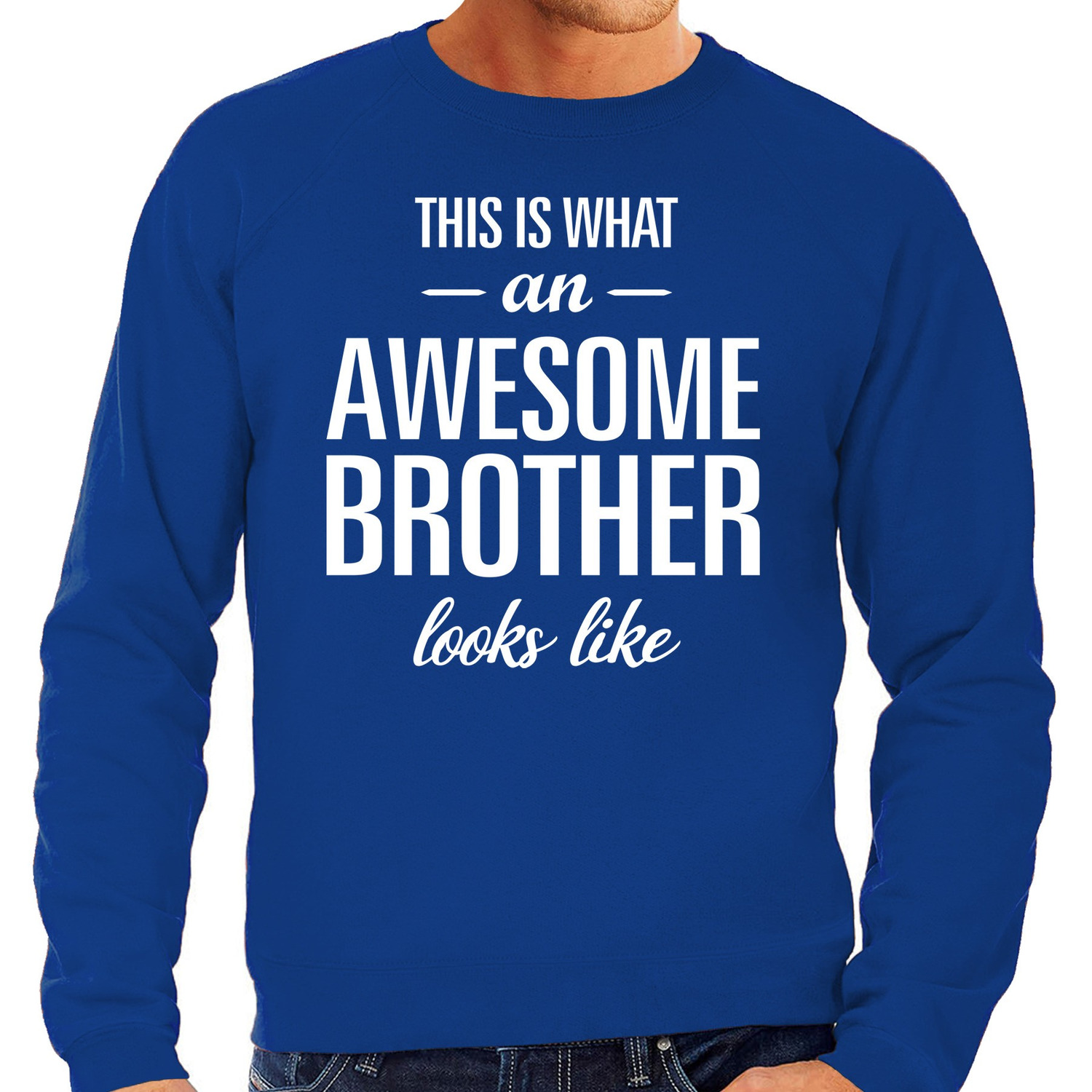 Awesome brother - broer cadeau sweater blauw heren