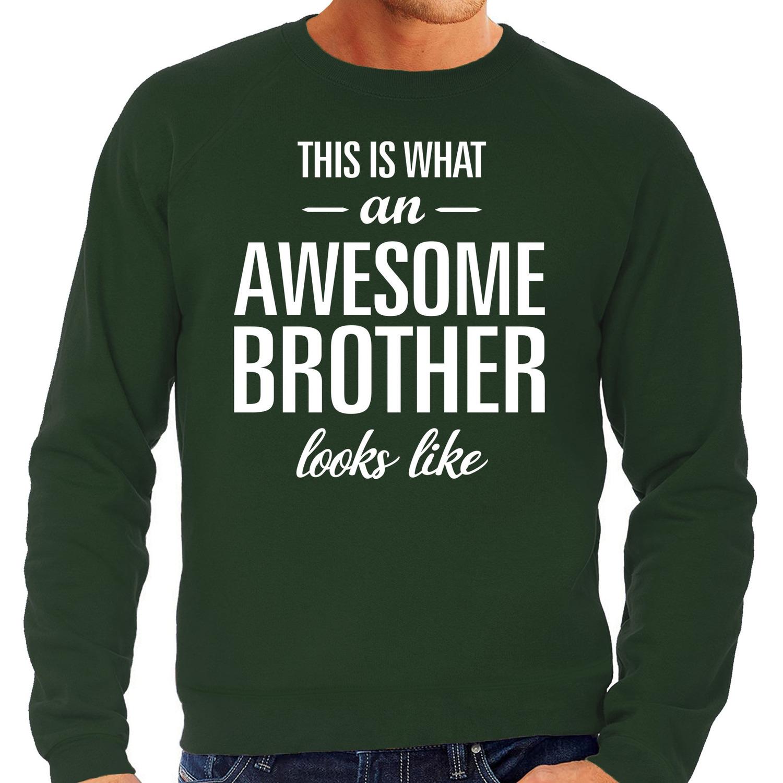 Awesome brother - broer cadeau sweater groen heren