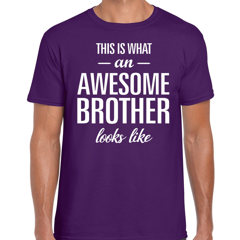 Awesome Brother tekst t-shirt paars heren