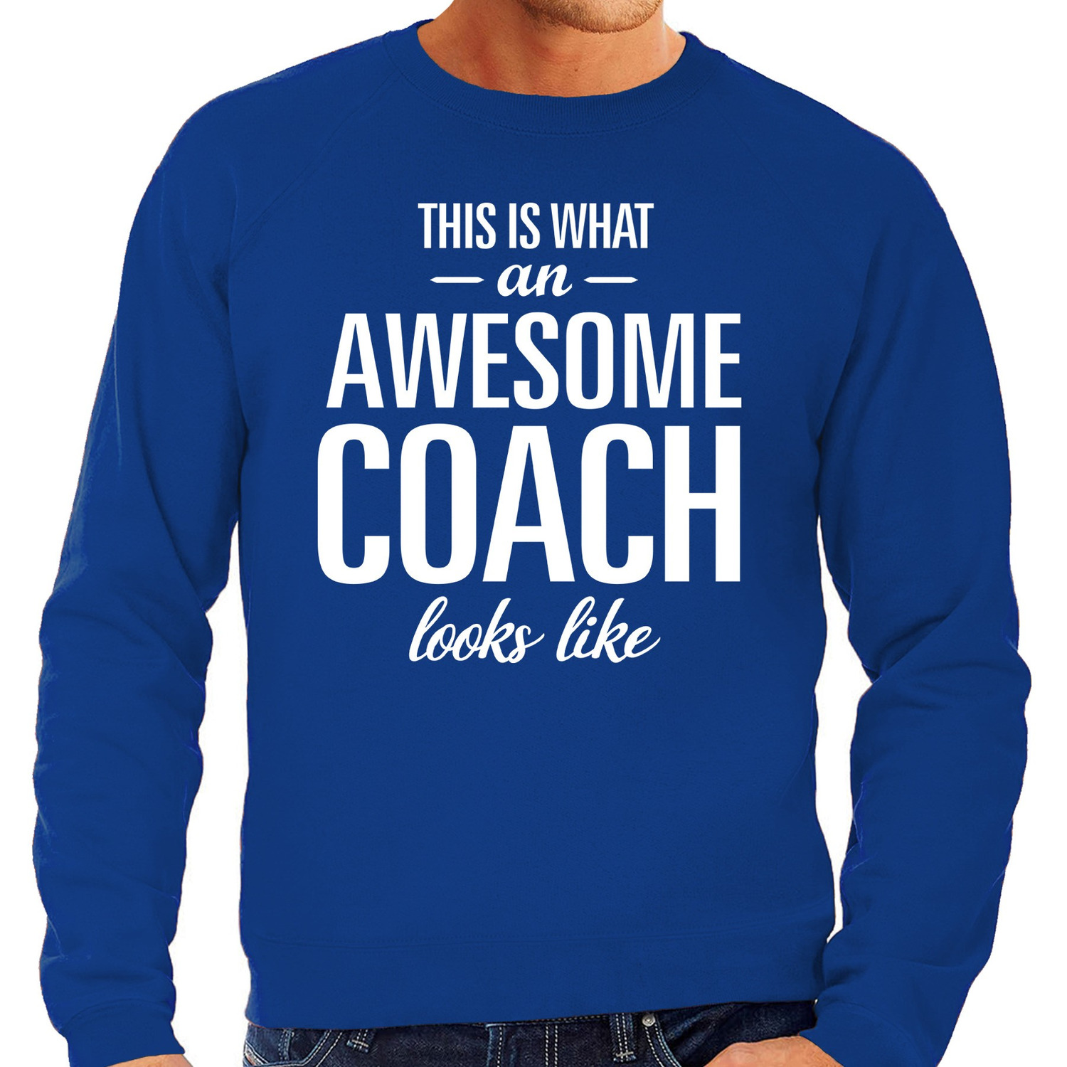 Awesome Coach - trainer cadeau sweater blauw heren