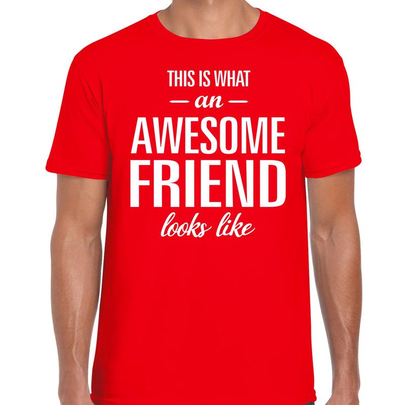 Awesome friend cadeau t-shirt rood heren