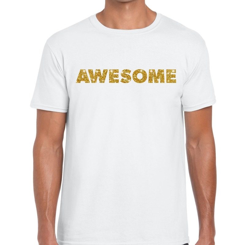 Awesome goud glitter tekst t-shirt wit heren