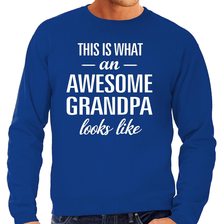 Awesome grandpa - opa cadeau sweater blauw heren