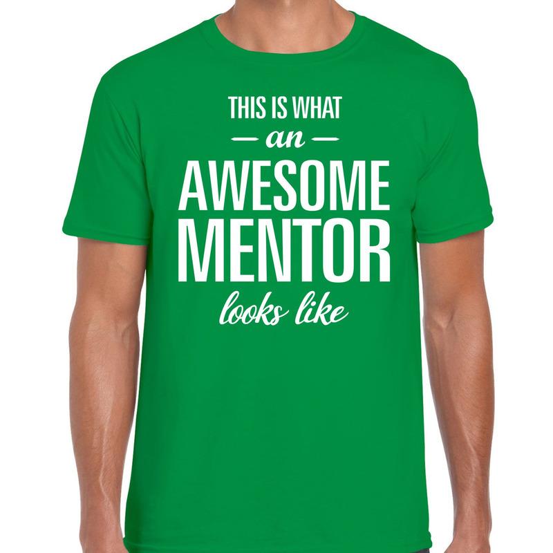 Awesome mentor cadeau t-shirt groen voor heren