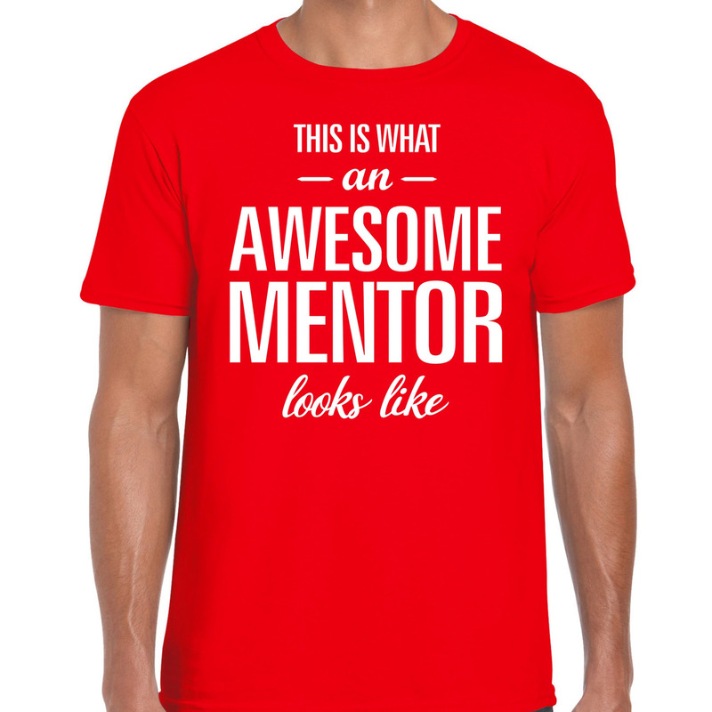 Awesome mentor cadeau t-shirt rood voor heren